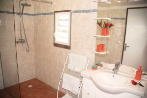 Private bathroom with shower, sink and toilets for each room